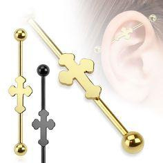 38mm Bar Cross Plated Over 316L Surgical Steel Industrial Barbell - Pierced n Proud