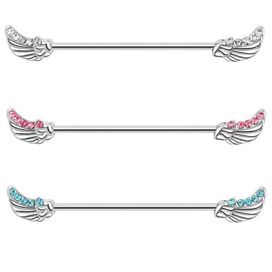 Surgical Steel Encrusted Angel Wings Design Industrial Barbell 14g 36mm Plus Design - Pierced n Proud
