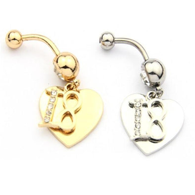 316L Surgical Steel 18th Birthday Dangle with Heart Belly Bar - Pierced n Proud