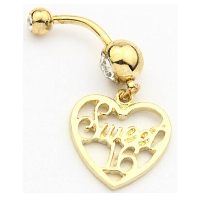 Gold Plated 316L Surgical Steel Sweet 16 Birthday Dangle with Heart Belly Bar - Pierced n Proud