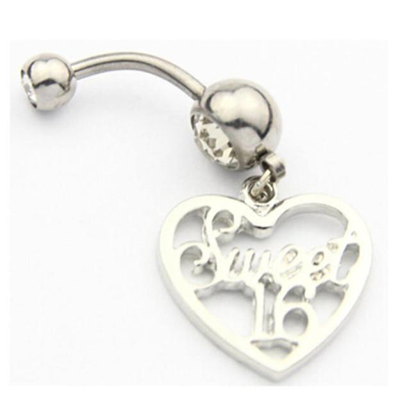 316L Surgical Steel Sweet 16 Birthday Dangle with Heart Belly Bar - Pierced n Proud