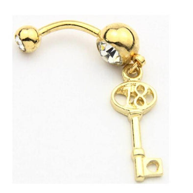Gold Plated 316L Surgical Steel 18th Key Birthday Dangle with Heart Belly Bar - Pierced n Proud