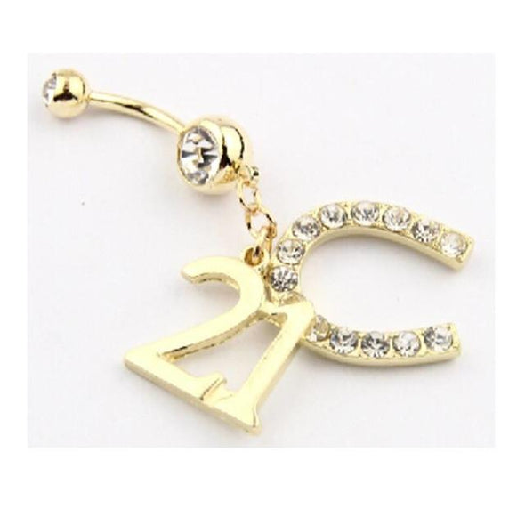 Gold Plated 316L Surgical Stee 21st Horseshoe Birthday Dangle with Heart Belly Bar - Pierced n Proud