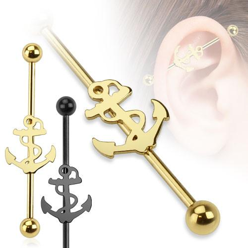 Anchor Ion Plated Over 316L Surgical Steel Industrial Barbell - Pierced n Proud