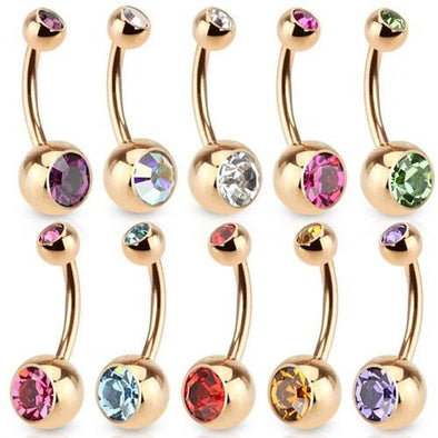 Gold Plated Double Gem Press Fit Navel Belly Bars 5mm and 8mm - Pierced n Proud