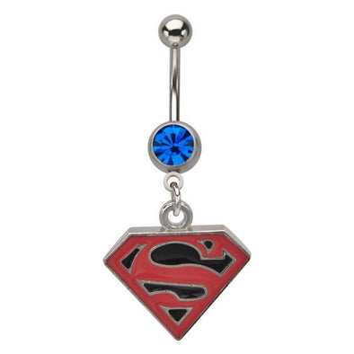 Licensed DC Comic Superman Dangle Navel Belly Bar - Pierced n Proud