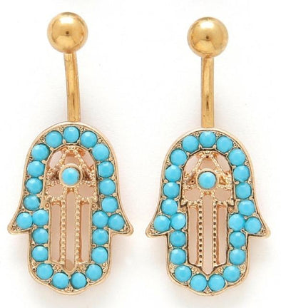 Gold Plated Hamsa Hand Belly Bar 14g - Pierced n Proud