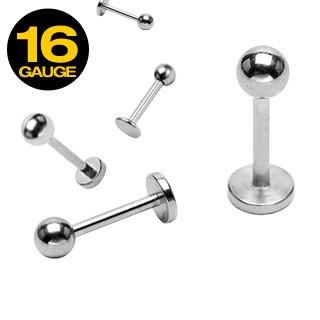 16 Gauge 316L Surgical Stainless Steel Mixed Size Labret with Ball Top - Pierced n Proud