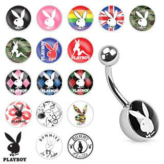 Playboy Bunny Print Inlay 316L Surgical Steel Navel Ring - Pierced n Proud