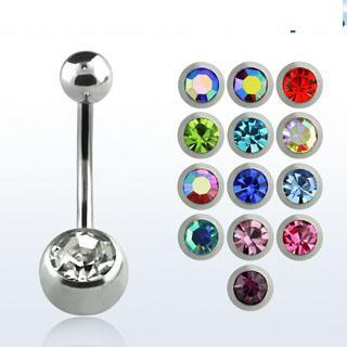 8mm Bar Double Gem Surgical Steel Belly Bar