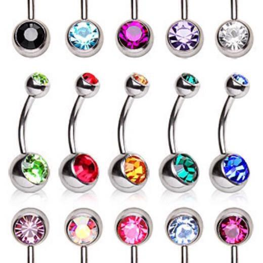 Special Deal - 5 x Double Gem Surgical Steel Belly Bars