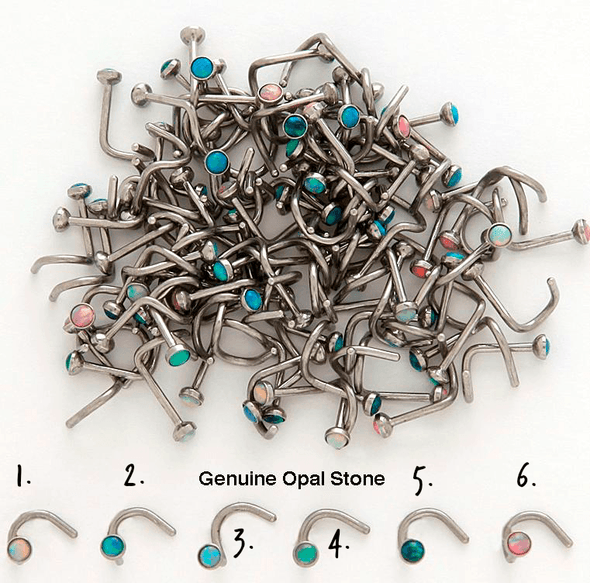 Genuine Opal Gem Nose Screws 20g - Pierced n Proud