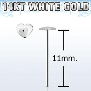 "14kt White Gold ""Bend it Yourself"", 22g with 2.5mm Heart Shaped Nose Stud - Pierced n Proud"