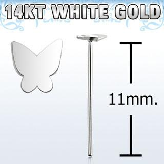 "14kt White Gold ""Bend it Yourself"", 22g with 2.5mm Butterfly Shaped top Nose Ring - Pierced n Proud"