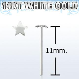 "14kt White Gold ""Bend it Yourself"", 22g with 2.5mm Star Shaped Nose Tud - Pierced n Proud"