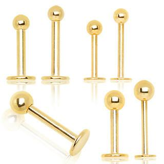 16g Gold Plated 316L Surgical Steel Labret Tragus Ear Bars - Pierced n Proud