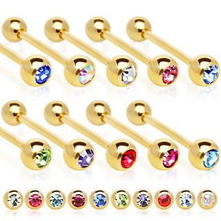 14g Tongue 16mm Gold Plated Surgical Steel Elite Gem Cz Ball Barbell - Pierced n Proud