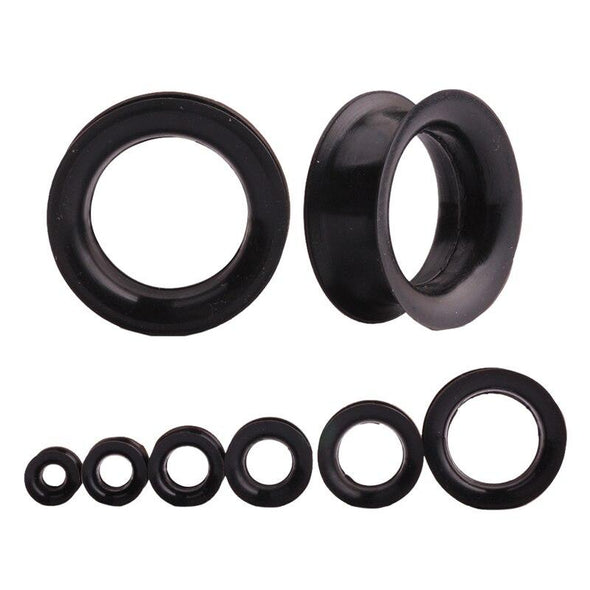 Black 18mm Double Flared Silicone Tunnels - Pierced n Proud