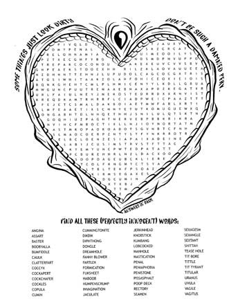 """Words that Look Dirty"" Word Search Printable Coloring Page"
