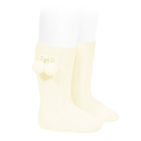 Condor Pom Pom Knee High Sock Cream