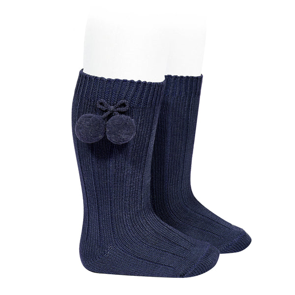 Condor Pom Pom Ribbed Knee High Sock Navy