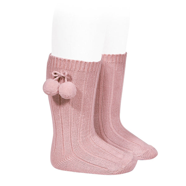 Condor Pom Pom Knee High Sock Rose