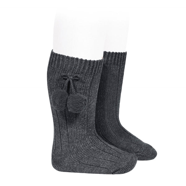 Condor Pom Pom Knee High Sock Charcoal