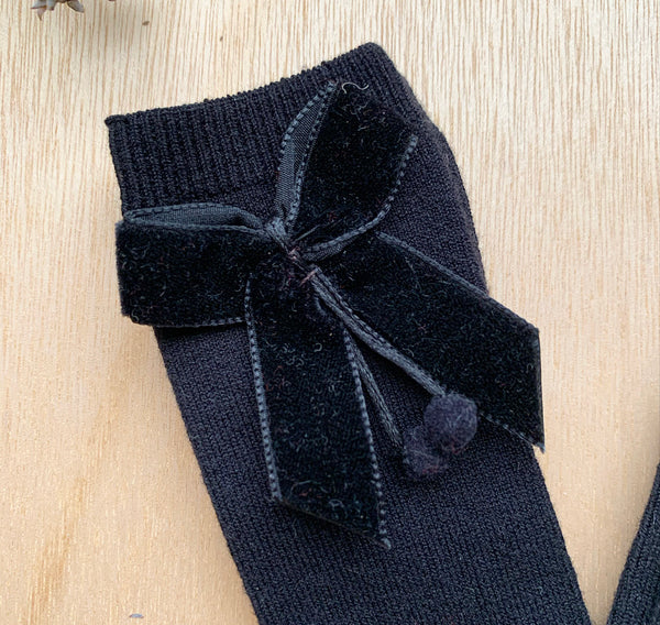 Condor Velvet Bow Sock Black