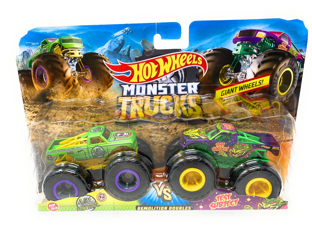 Hot Wheels Monster Trucks 2 Pack A51 Patrol vs. Test Subject