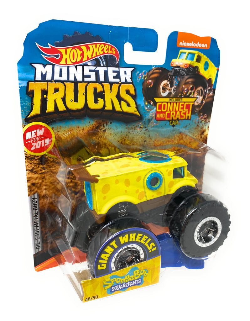 Hot Wheels Monster Trucks Spongebob Squarepants, Giant wheels, including connect and crash car