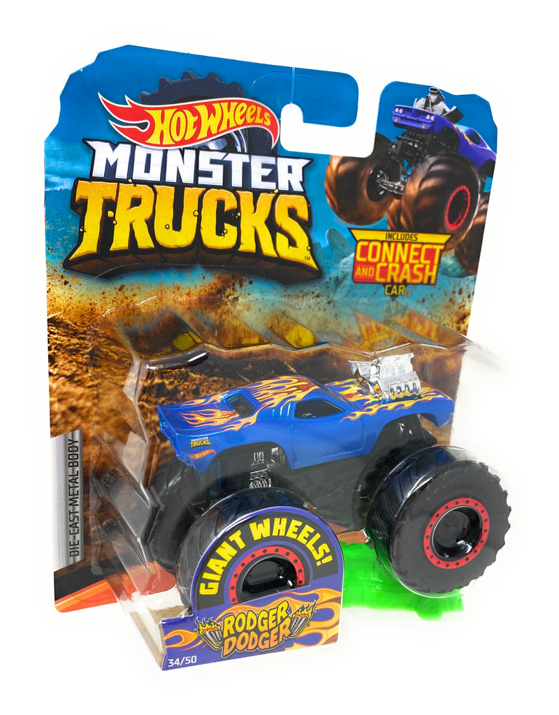Hot Wheels Monster Trucks Rodger Dodger, Giant wheels, including connect and crash car