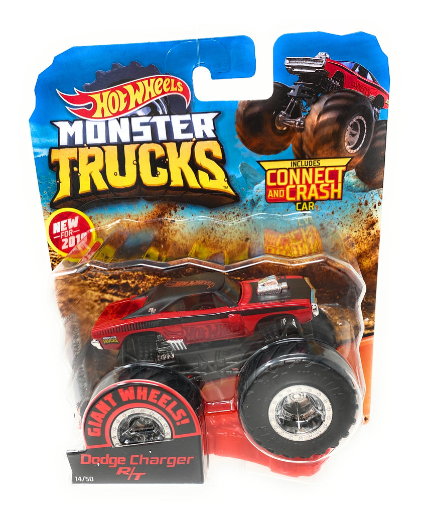 Hot Wheels Monster Trucks Dodge Challenger R/T, Giant wheels, including connect and crash car