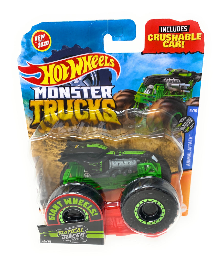 Hot Wheels Monster Trucks Ratical Racer, Giant wheels, including crushable car