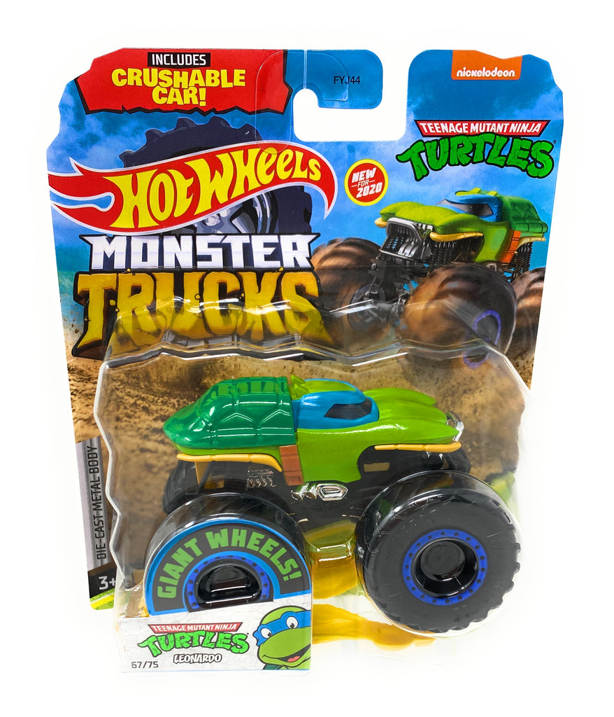 Hot Wheels Monster Trucks Teenage Mutant Ninja Turtles, Leonardo, Giant wheels, including crushable car