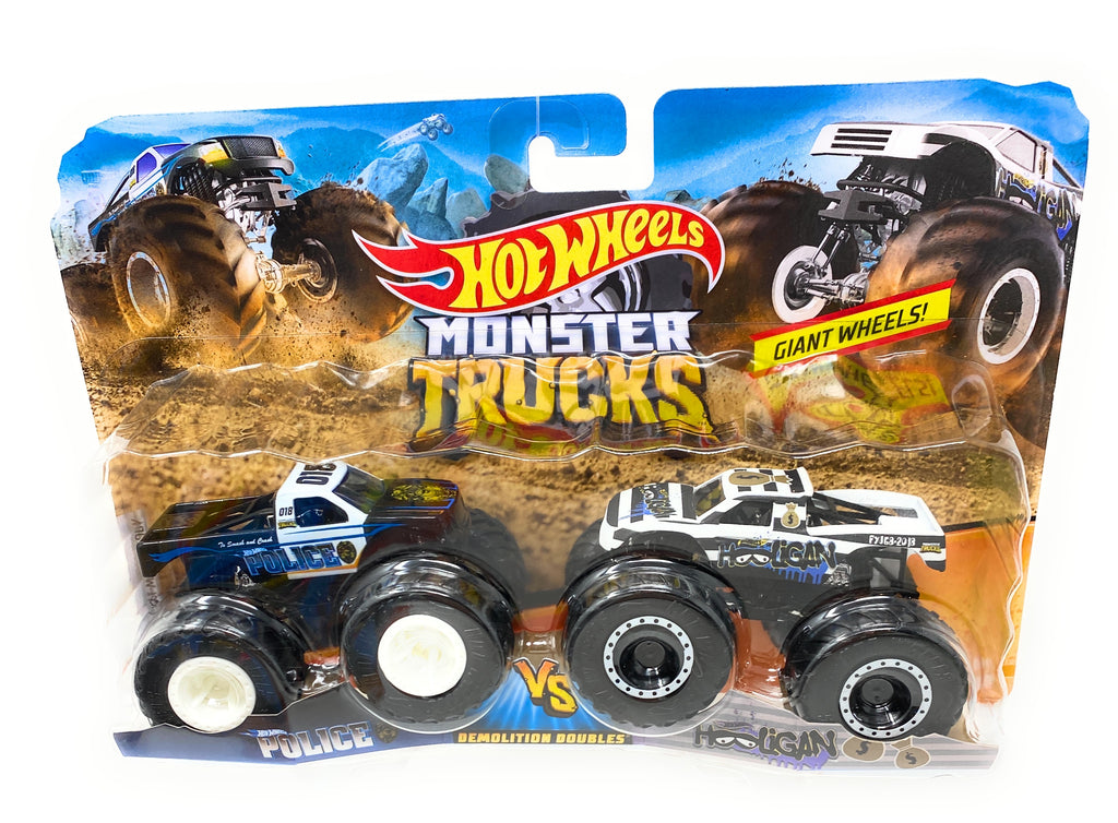 Hot Wheels Monster truck 2 Pack police vs. Hooligan Demolition Doubles Giant Wheels