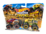 Hot Wheels Monster truck 2 pack Hot Weiler vs. Hound Hauler Demolition Doubles Giant Wheels
