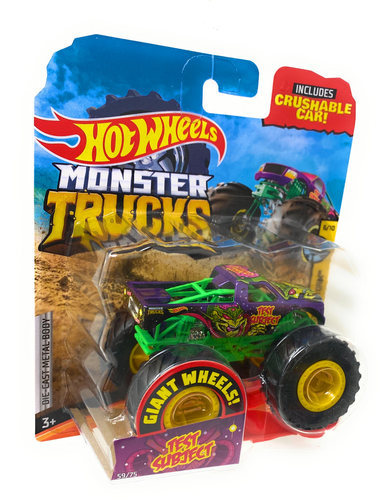 Hot Wheels Monster Trucks Test Subject, Giant wheels, including crushable car