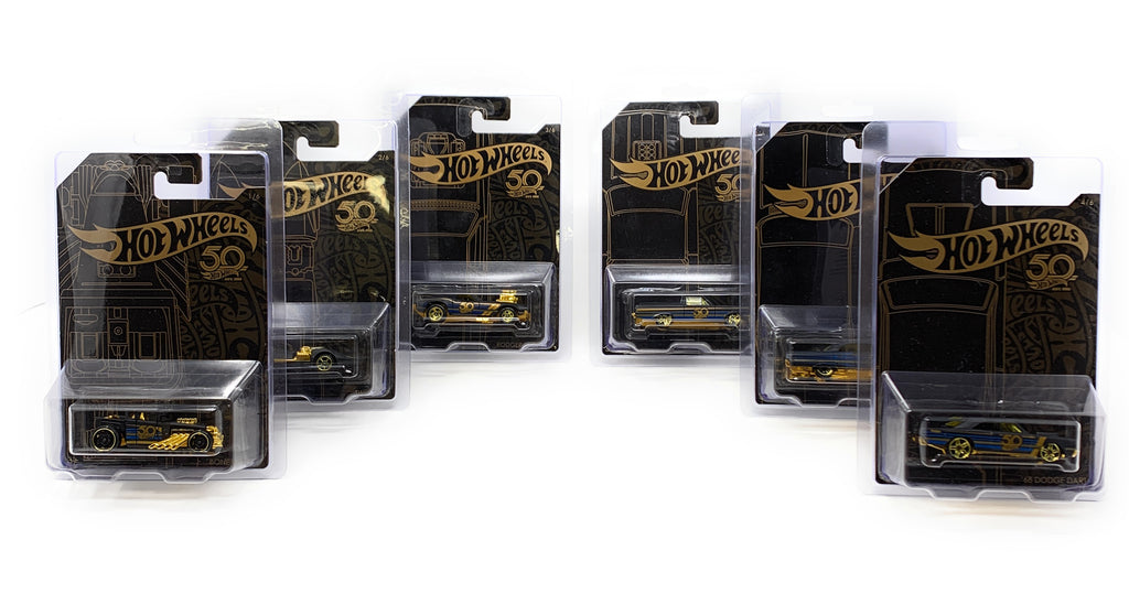 Hot Wheels 50th Anniversary Set of 6 Cars + 6 Nozlen Toys Hot Wheels Protector Cases