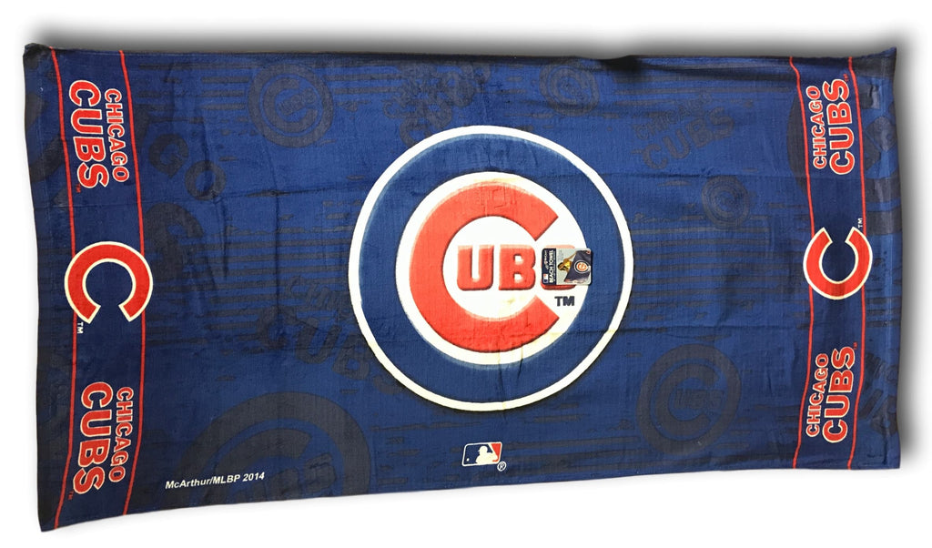 Chicago Cubs Blue Beach Towel with Cubs Logo