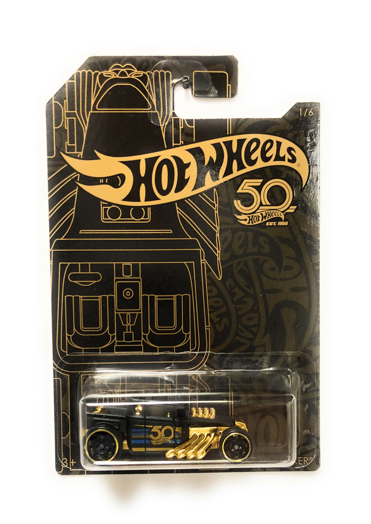 Hot Wheels Black & Gold 50th Anniversary Car 1/6 Bone Shaker