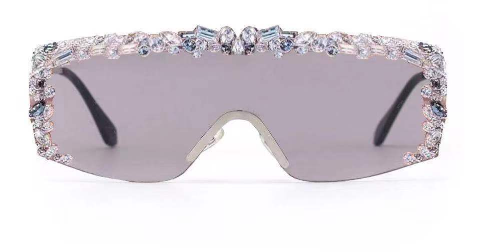 Women Flat Top Rectangle Rhinestone Fashion Sunglasses - Iris Fashion Inc. | Wholesale Sunglasses and Glasses