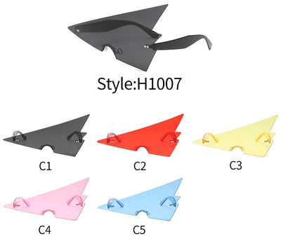 H1007 - Futuristic Geometric Rimless Triangle Party Sunglasses