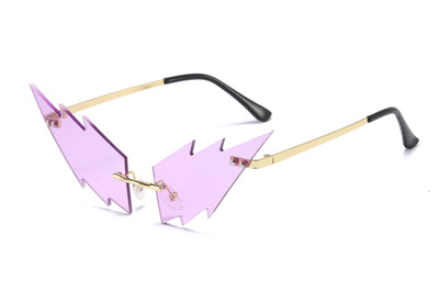 W2009 - Rimless High Pointed Mod Tinted Colored Hip Fashion Sunglasses