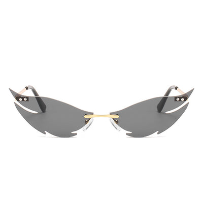 W2011 - Rimless Tinted Colored High Pointed Party Sunglasses