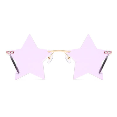 XX701 - Rimless Star Shape Colored Fashion Sunglasses