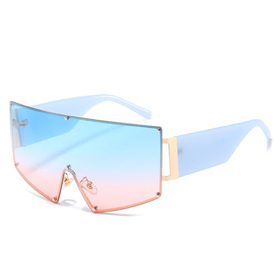 H1003 - Large Rimless Oversize Shield Fashion Sunglasses