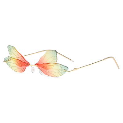 W2018 - Rimless Dragon Shape Tinted Party Fashion Sunglasses