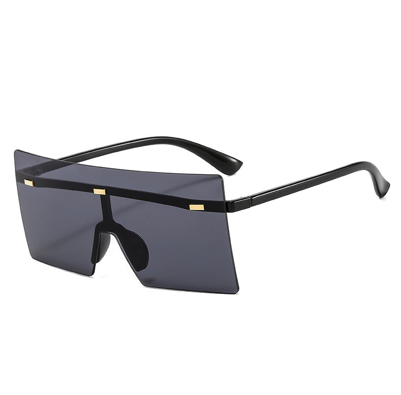 6932 - Rimless Retro Square Oversize Fashion Sunglasses