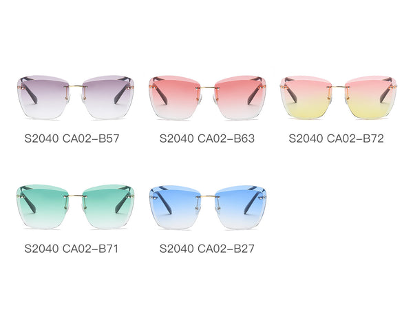 8ff0aca1b25 S2040 Women Rimless Tinted Lens Square Sunglasses - Iris Fashion Inc.