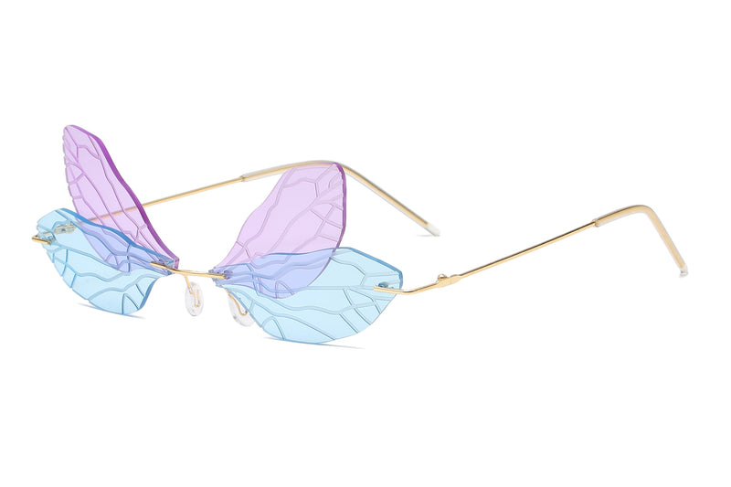 W2018 - Rimless Dragonfly Wing Shape Tinted Party Fashion Sunglasses